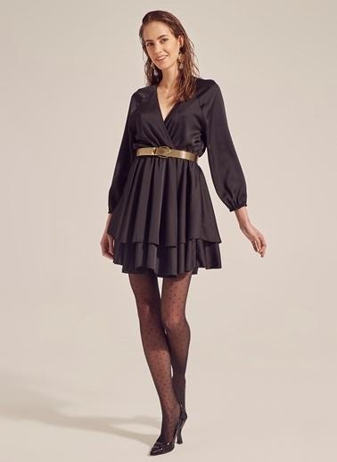 Monamoda Saten Yüzeyli Anvelop Kapama Elbise Siyah